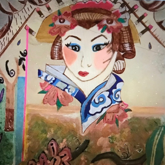 Japanese Geisha girl Acrylic Painting